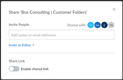 Screenshot of the new simplified sharing window in Box Web