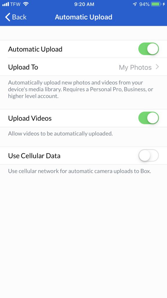 screenshot of box mobile automatic upload options