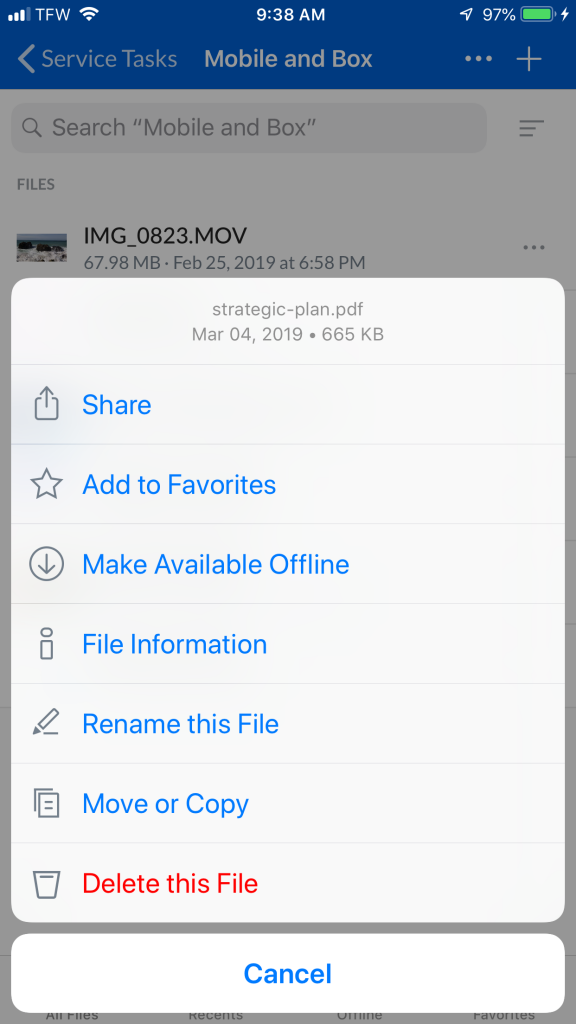 screenshot of box mobile file menu showing the Make Available Offline option